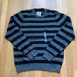 Cotton/Cashmere Crew Neck Striped Sweater
